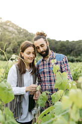 Spain, Barcelona, Penedes. Young couple of farmers strolling and enjoying their vineyards in the afternoon - JRFF04483