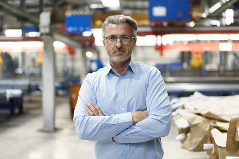 Portrait of a confident mature businessman in a factory - MOEF03000
