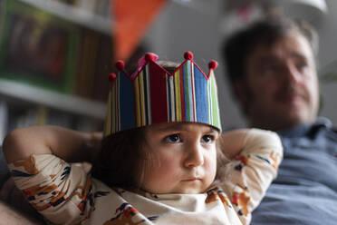 Portrait of angry little girl celebrating birthday - VABF03015