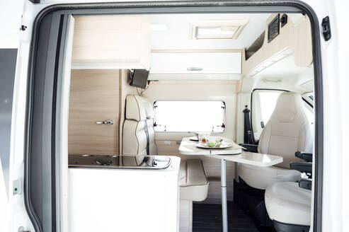 Interior of white clean motor home - JCMF00824