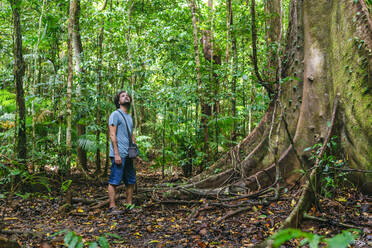 Man looking at trees while standing in rainforest, Cow Bay, Queensland, Australia - KIJF03091
