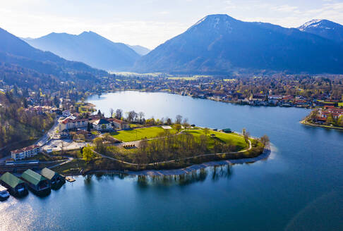 Germany, Bavaria, Rottach-Egern, Drone view of town on shore of Tegernsee - LHF00790