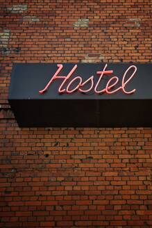 Neon sign hostel, Prenzauer Berg, Berlin, Germany - NGF00554