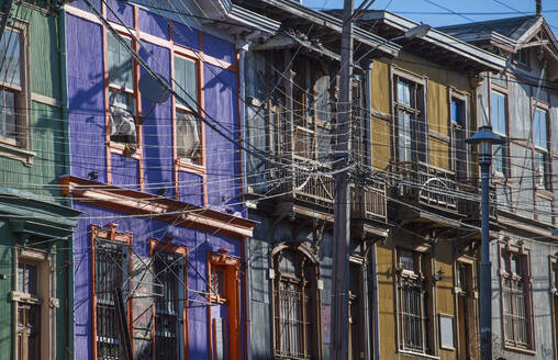 Colourful residential houses in Valparaiso in Chile - CAVF86173