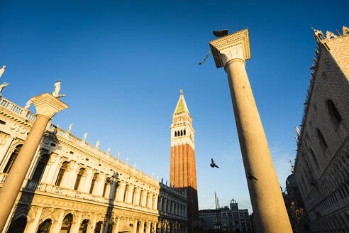 St Mark's Square and Doge's Palace illuminated by morning light, Venice, Italy. - MCVF00467