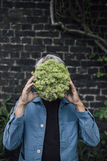 Senior man holding a lettuce head in front of his face - GUSF04081