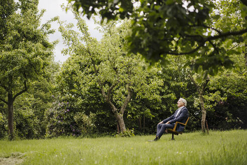 Senior businessman sitting on a chair in a rural garden - GUSF04147