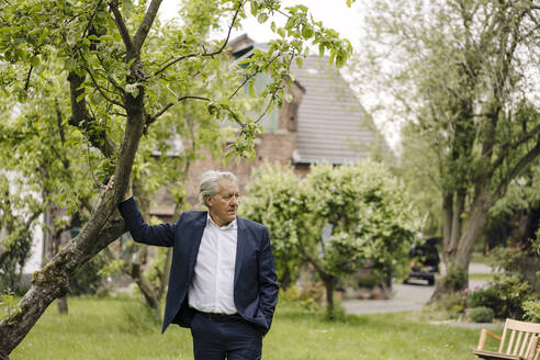 Senior businessman standing at a tree in a rural garden - GUSF04150