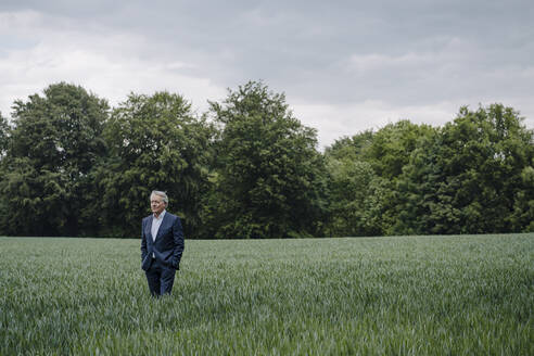 Senior businessman on a field in the countryside - GUSF04153