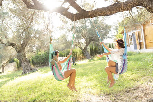 Young woman reaching for female friend while sitting in hammocks at yard - LVVF00143