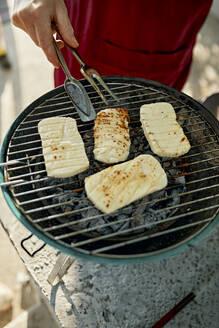 Halloumi cheese on barbecue grill - ZEDF03569
