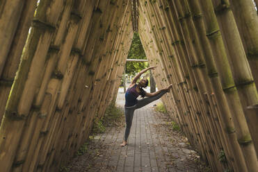 Flexible young woman stretching while leaning on bamboo covered footpath at park - DSIF00014