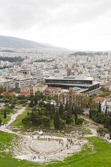 Cityscape including the Theatre of Dionysus and Acropolis Museum, Athens, Greece, Europe - RHPLF16113