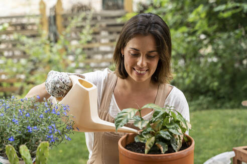 Smiling young woman watering potted plant in yard during curfew - AFVF06838