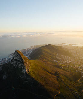 Aerial view of sunrise over Lions Head, Cape Town, South Africa - AAEF09145