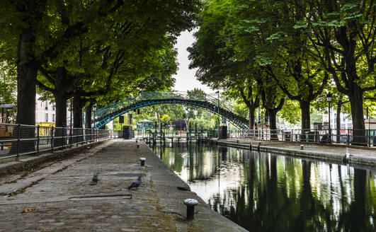 Trees lined by Canal St. Martin in Paris, France - HSIF00768
