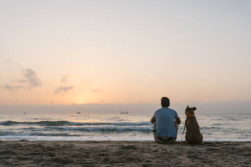 Man with his dog sitting on beach sand at dawn - EGAF00586