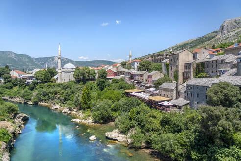 Koski Mehmed Pasha Mosque by the Neretva River in Mostar, Bosnia and Hercegovina, Europe - RHPLF16469