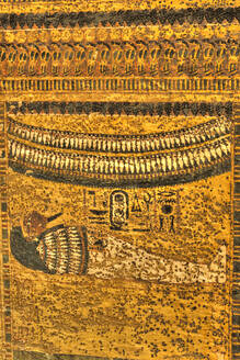 Mural of King Tut's Body, Tomb of Tutankhamun, KV62, Valley of the Kings, UNESCO World Heritage Site, Luxor, Thebes, Egypt, North Africa, Africa - RHPLF16778