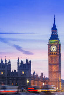 Big Ben (Queen Elizabeth Tower), the Palace of Westminster (Houses of Parliament), UNESCO World Heritage Site, and Westminster Bridge, London, England, United Kingdom, Europe - RHPLF17288