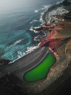 Aerial view of El Golfo with it's volcanic green lagoon, Lanzarote, Spain - AAEF09258