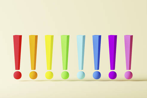 Multiple rainbow colored exclamation points over light background, 3D Illustration - DRBF00189
