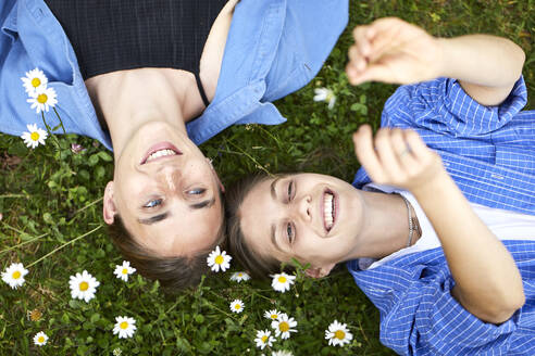 Close-up of smiling friends relaxing on grassy land in garden - UKOF00061