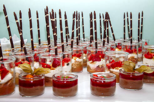 Buffet table filled with dessert jars - NDF01119