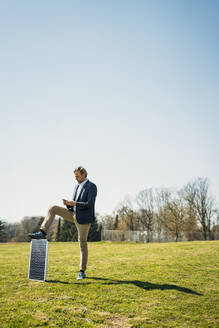 Businessman using mobile phone while standing with solar panel on grass at park against clear sky during sunny day - JOSEF01446