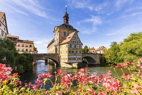 Deutschland, Bayern, Franken, Bamberg, Altstadt, Regnitz, Obere Brücke, Altes Rathaus - WDF06142