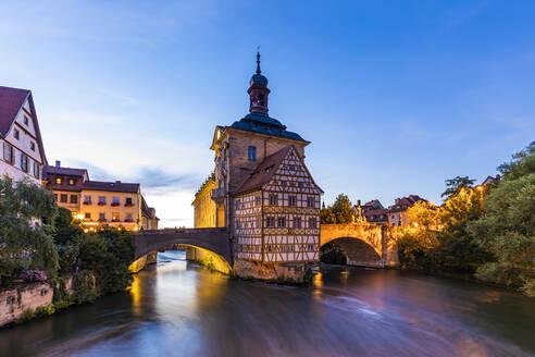 Deutschland, Bayern, Franken, Bamberg, Altstadt, Regnitz, Obere Brücke, Altes Rathaus - WDF06154