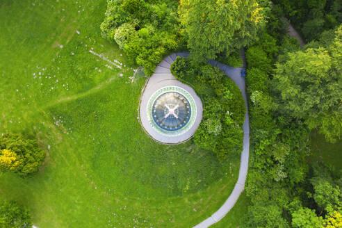Monopteros von oben, Englischer Garten, München, Luftbild, Oberbayern, Bayern, Deutschland - SIEF10003
