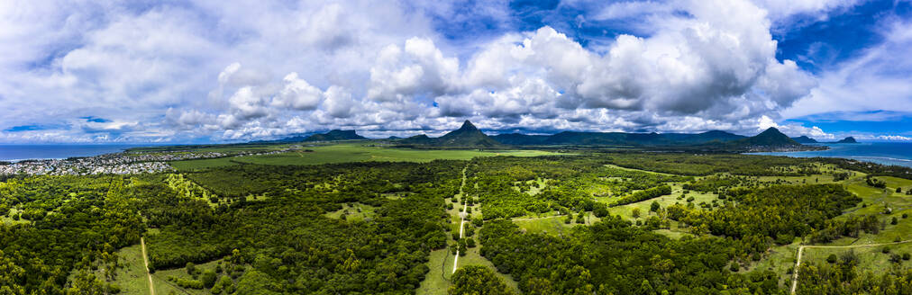 Mauritius, Black River, Flic-en-Flac, Helicopter panorama of green island landscape in summer - AMF08403