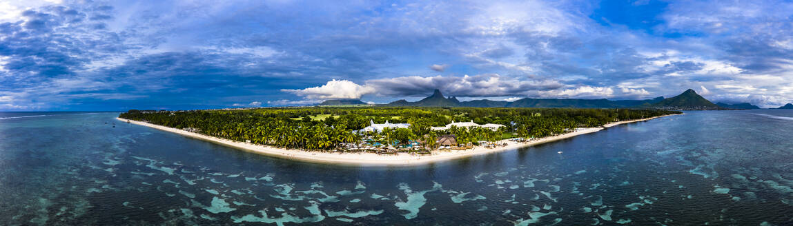 Mauritius, Black River, Flic-en-Flac, Helicopter panorama of coastal village in summer - AMF08406