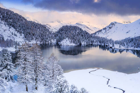 Sunrise over Lake Cavloc after a snowfall, Bregaglia Valley, Engadine, canton of Graubunden, Switzerland, Europe - RHPLF17417