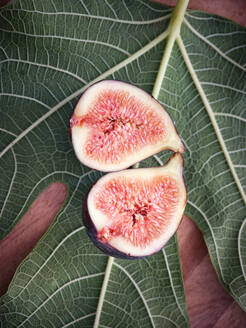 From above half pieces of fig over wooden table with green leaves - ADSF11890