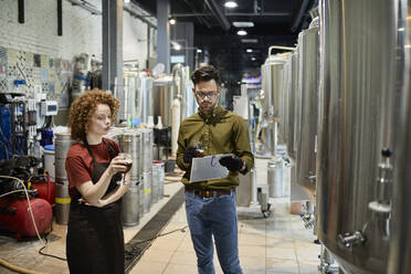 Man and woman working in craft brewery discussing quality of a beer - ZEDF03709