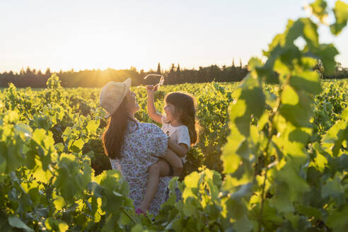 Mother holding her daughter in a vineyard at sunset in Provence, France - GEMF04116