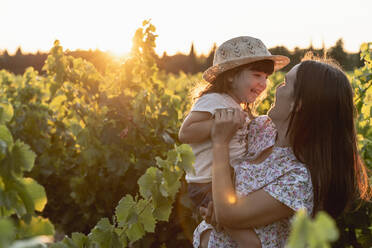 Mother and little daughter in a vineyard at sunset in Provence, France - GEMF04122