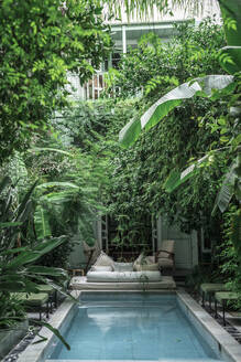 Swimming pool and couch located amidst green exotic plants outside hotel building in Marrakesh, Morocco - ADSF14708