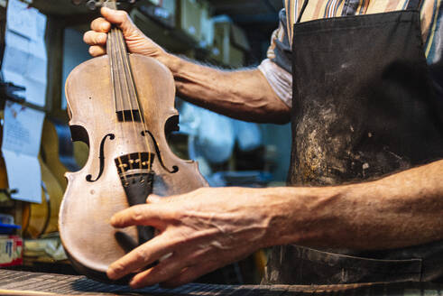 Violin maker examining violin for repairing at workshop - JCMF01215