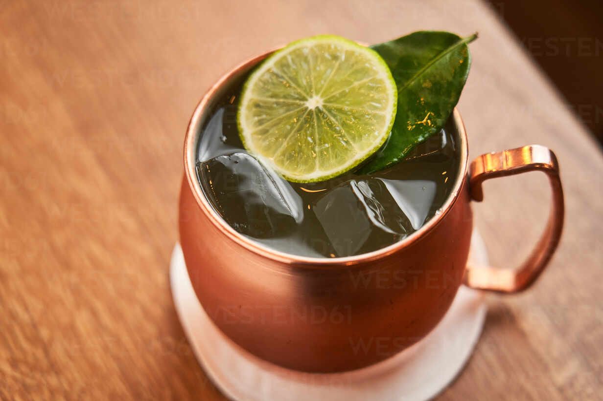 From Above Classic Alcohol Cocktail Moscow Mule Based On Vodka With Ginger Beer And Lime Juice