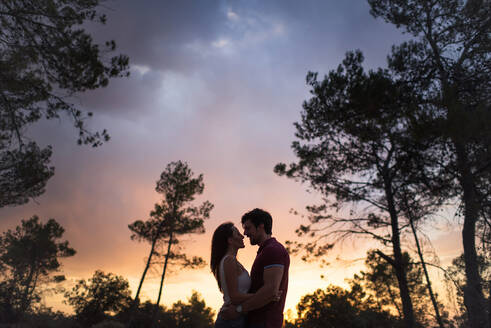 Low angle side view of tender couple standing embracing each other in woods on background of amazing sunset sky - ADSF14915