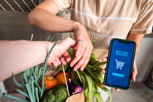 Unrecognizable female with smartphone with mobile app for online shopping taking fresh groceries from delivery man - ADSF15002