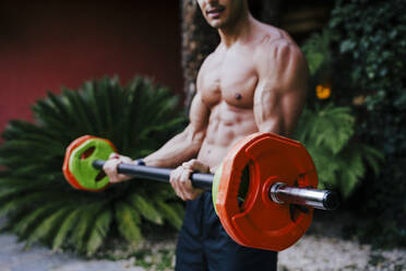 Shirtless mid adult man lifting deadlift while standing in yard - EBBF00719