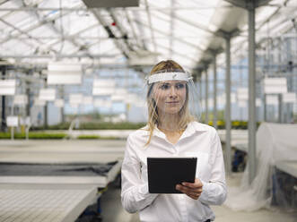 Businesswoman wearing face shield with digital tablet working in plant nursery - JOSEF01663