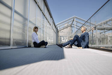 Business professionals discussing while sitting on footbridge at greenhouse - JOSEF01837