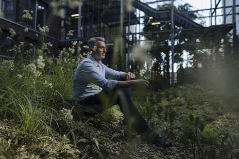 Thoughtful businessman sitting amidst plants on land - JOSEF01885