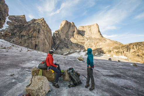 Climbers assess the route ahead. - CAVF88784