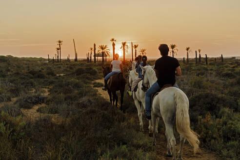 Family riding horses on landscape against sky during sunset - ERRF04444